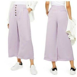 Topshop Coco Satin Wide Leg Crop Trouser  Lilac